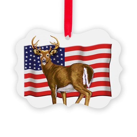 American White Tail Deer Buck Picture Ornament