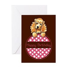 Cocker Spaniel Polka Hangtag Birthday Greeting Car