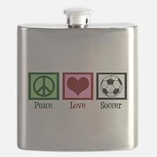 Peace Love Soccer Flask