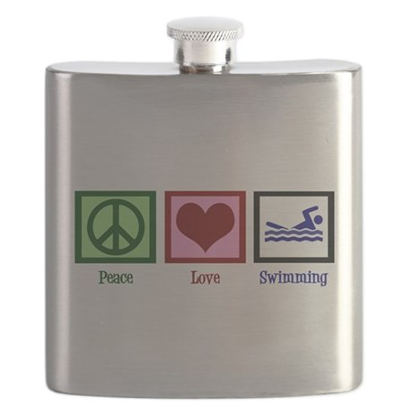 Peace Love Swimming Flask