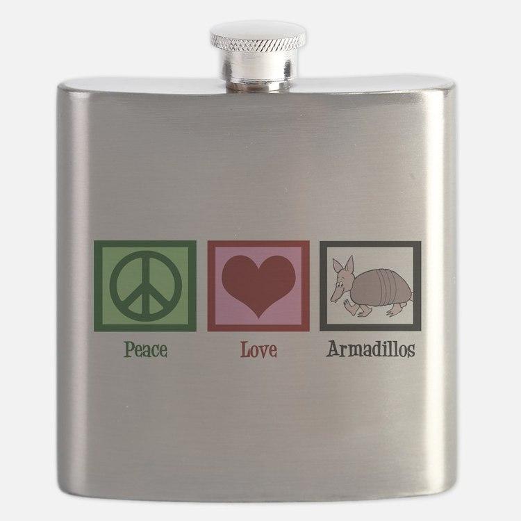 Peace Love Armadillos Flask