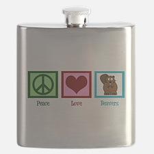 Peace Love Beavers Flask