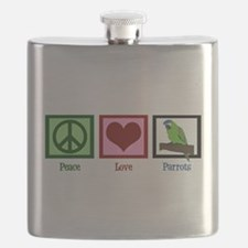 Peace Love Parrots Flask