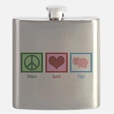 Peace Love Pigs Flask