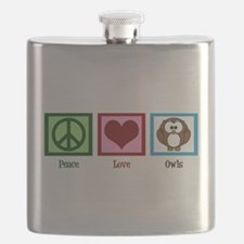 Peace Love Owls Flask