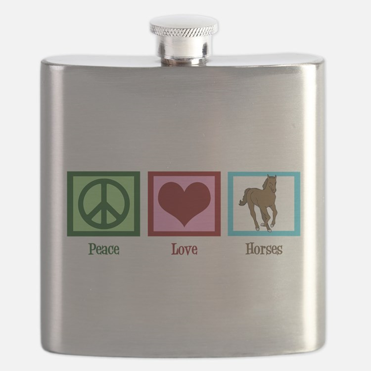 Peace Love Horses Flask
