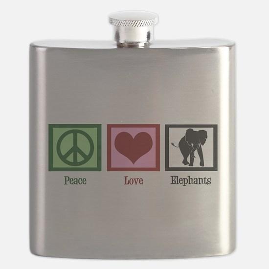 Peace Love Elephants Flask