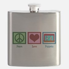Peace Love Puppets Flask