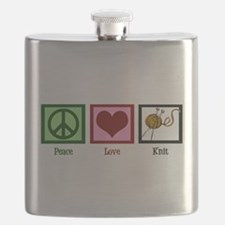 Peace Love Knit Flask