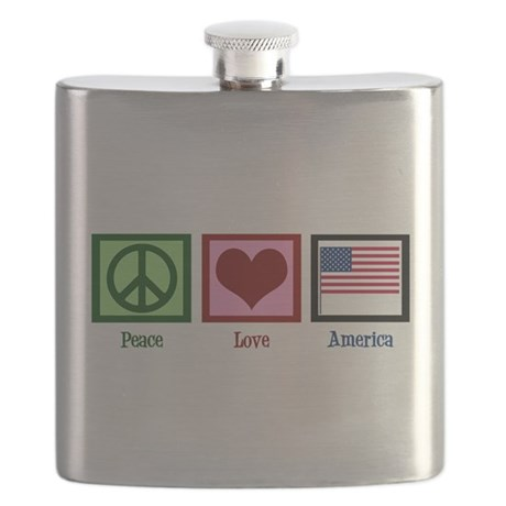 Peace Love America Flask