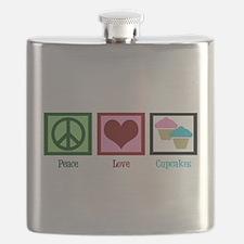 Peace Love Cupcakes Flask