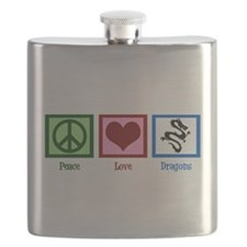 Peace Love Dragons Flask