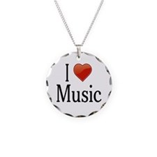 I Love Music Necklace Circle Charm
