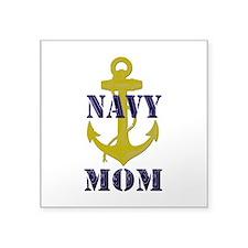 "Navy Mom Square Sticker 3"" x 3"""