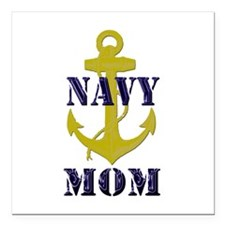 "Navy Mom Square Car Magnet 3"" x 3"""