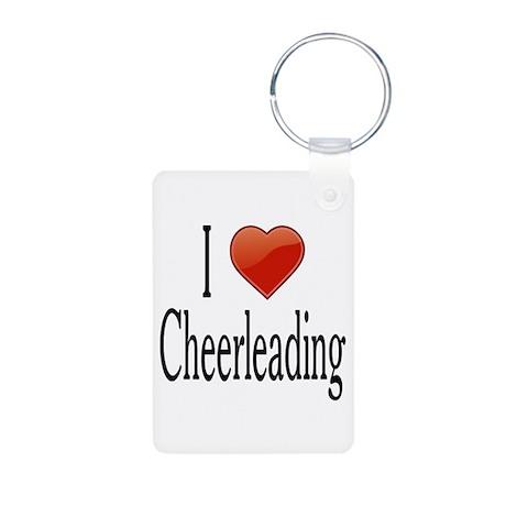I Love Cheerleading Aluminum Photo Keychain