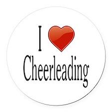 I Love Cheerleading Round Car Magnet