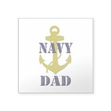 "Navy Dad Square Sticker 3"" x 3"""
