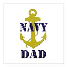"Navy Dad Square Car Magnet 3"" x 3"""