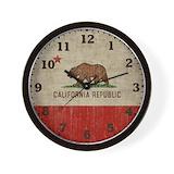 California bear flag Wall Clocks