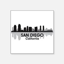 "San Diego Skyline Square Sticker 3"" x 3"""