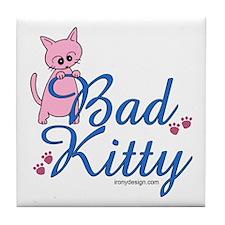 Bad Kitty Tile Coaster