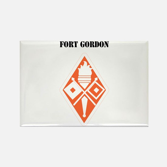 Fort Gordon with Text Rectangle Magnet
