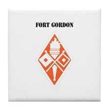 Fort Gordon with Text Tile Coaster