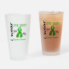 I Wear Lime 43 Lymphoma Drinking Glass
