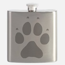 Wolf Paw Print Flask