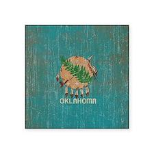 "Vintage Oklahoma Flag Square Sticker 3"" x 3"""