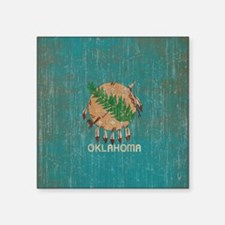 "Vintage Oklahoma Flag Square Sticker 3"" x 3"""