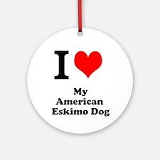 I Love My American Eskimo Dog Ornament (Round)
