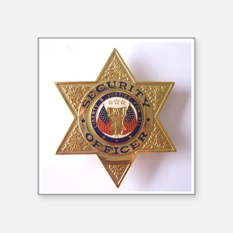 "Security7StarBadge.jpg Square Sticker 3"" x 3"""