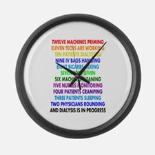 DIALYSIS 12 DAYS OF CHRISTMAS.PNG Large Wall Clock