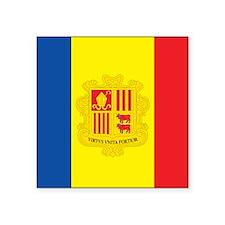 """Andorra Flag Square Sticker 3"""" x 3"""""""