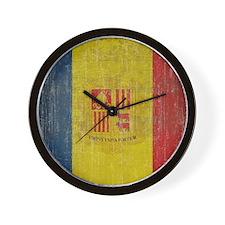 Vintage Andorra Flag Wall Clock