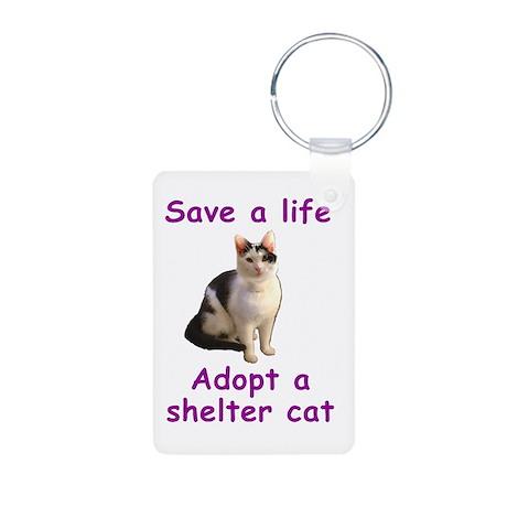 Shelter Cat Aluminum Photo Keychain