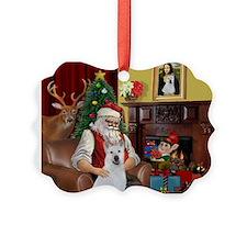 Santa & Akita Ornament