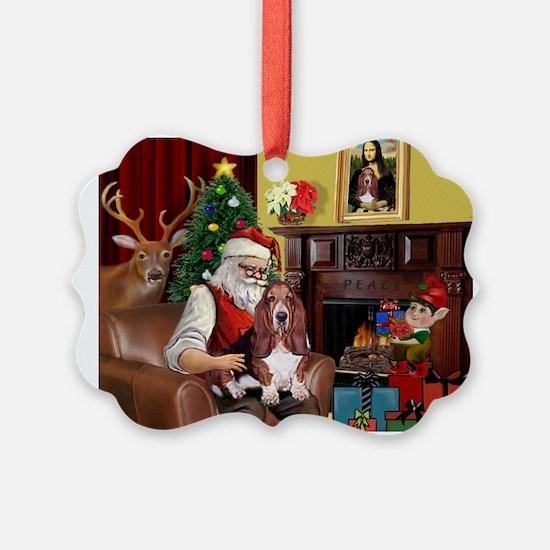 Santa's Basset Hound Ornament