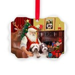 Santa's Beardie pair Picture Ornament