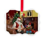 Santa's Bedlington Picture Ornament
