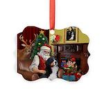 Santa's Home & Bernese Picture Ornament