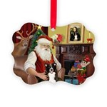 Santa's Border Collie Picture Ornament