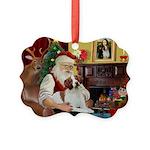 Santa & His Brittany Picture Ornament