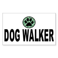 Dog Walker Green Stripes Rectangle Decal