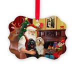 Santa's 2 Cockers Picture Ornament
