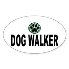 Dog Walker Green Stripes Oval Decal