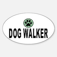 Dog Walker Green Stripes Oval Decal