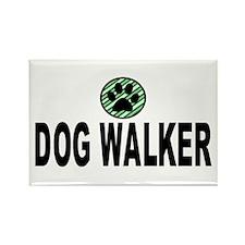 Dog Walker Green Stripes Rectangle Magnet